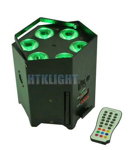 Durable Battery Powered DMX Lights 6x15W 5in1 With IR Wireless Remote Controller